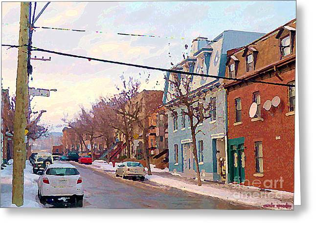 Urban Winter Landscape Colors Of Quebec Cold Day Pointe St Charles Street Scene Montreal  Greeting Card by Carole Spandau