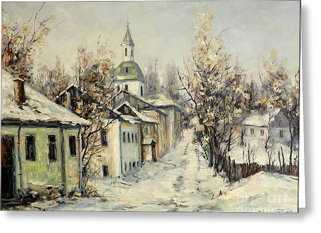 Urban Winter Greeting Card by Petrica Sincu