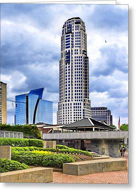 Greeting Card featuring the photograph Urbania - Atlanta Buckhead Skyline by Mark E Tisdale