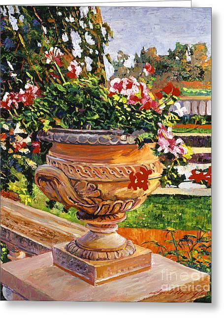 Urn Of English Geraniums Greeting Card by David Lloyd Glover