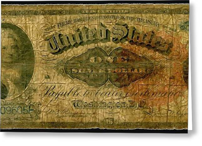 U.s. 1886 One Dollar Silver Certificate  Greeting Card by Lanjee Chee