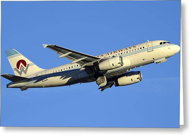 Us Airways Airbus A319-132 N828aw America West Legacy Phoenix Sky Harbor December 24 2014  Greeting Card by Brian Lockett