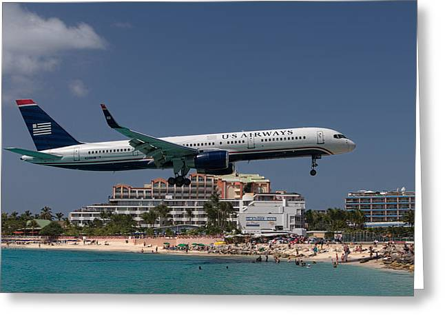 U S Airways At St Maarten Greeting Card by David Gleeson