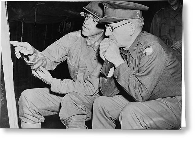 U.s. Army Generals Looking At A Map Greeting Card by Stocktrek Images
