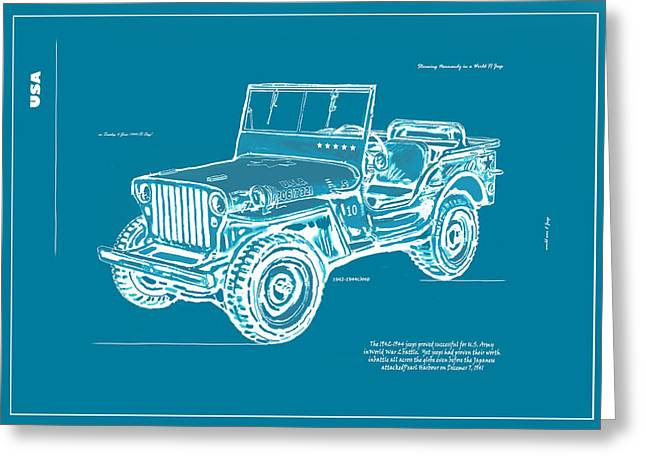 Us Army Jeep In World War 2 Art Sketch Poster-2 Greeting Card by Kim Wang