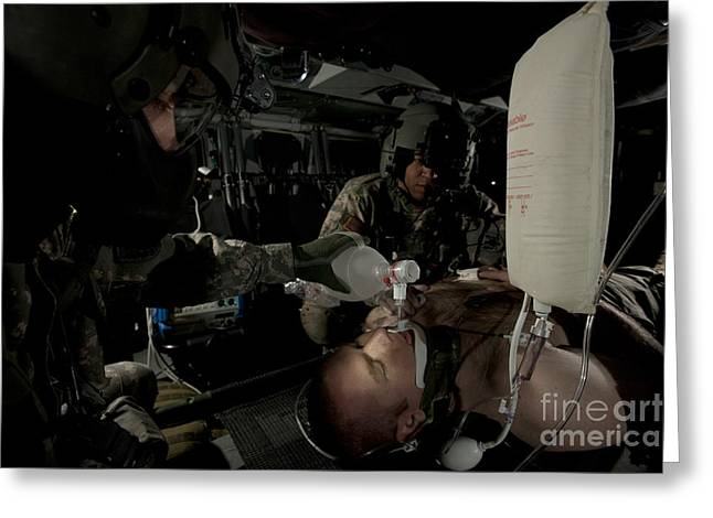 U.s. Army Medics Simulating Ventilation Greeting Card by Terry Moore