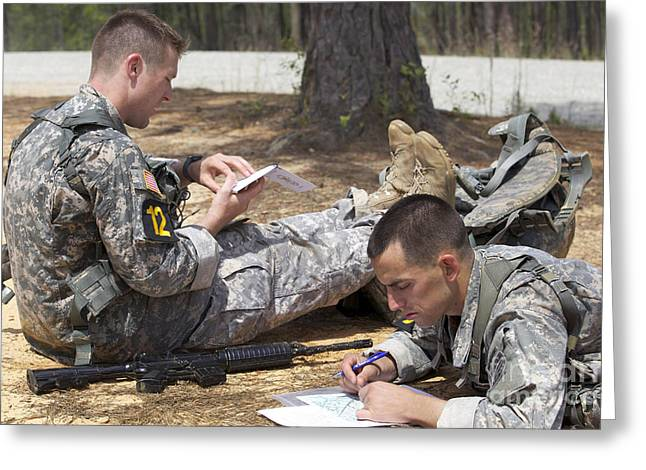 U.s. Army Rangers Map Out Their Route Greeting Card