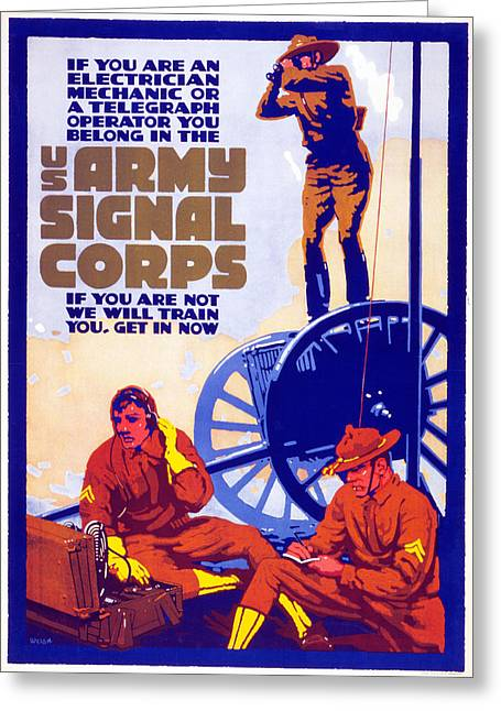 Us Army Signal Corps, 1917-20 Greeting Card by Horace Devitt Welsh