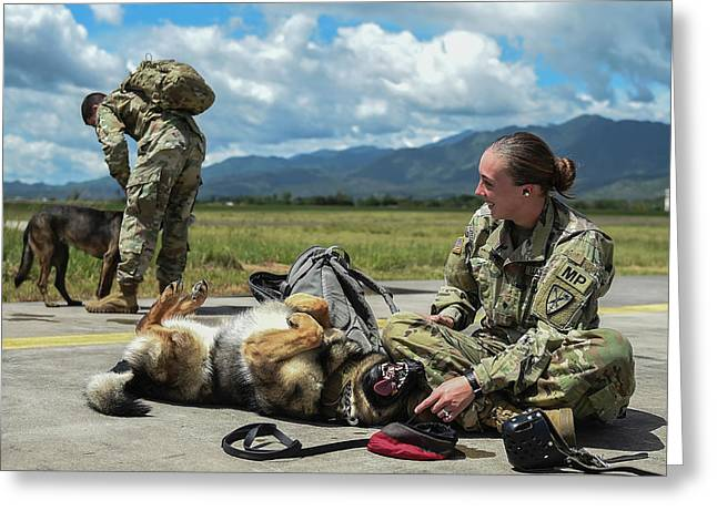 U.s. Army Specialist And Her Military Greeting Card