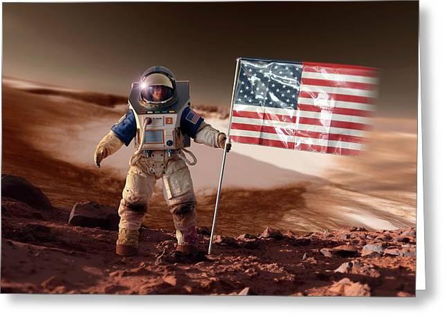 Us Astronaut On Mars Greeting Card by Detlev Van Ravenswaay