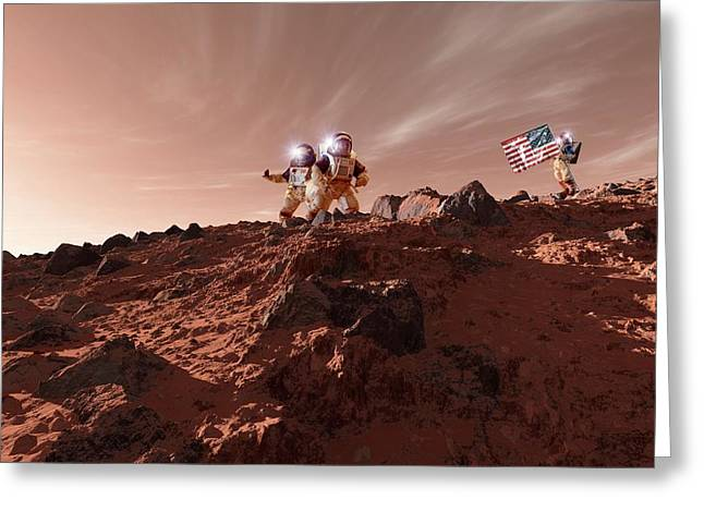 Us Astronauts On Mars Greeting Card by Detlev Van Ravenswaay