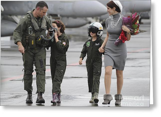 U.s. Aviator Walks With His Family Greeting Card by Stocktrek Images