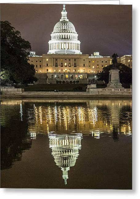 Us Capital At Night Greeting Card