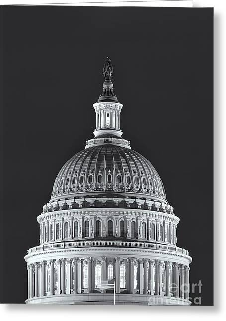 Us Capitol Dome At Night II Greeting Card by Clarence Holmes