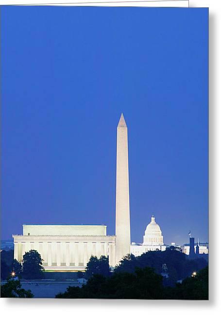 Us Capitol, Washington Monument Greeting Card