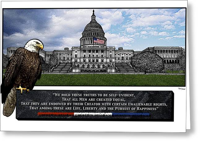 Us Capitol With Eagle Greeting Card by Rose Borisow