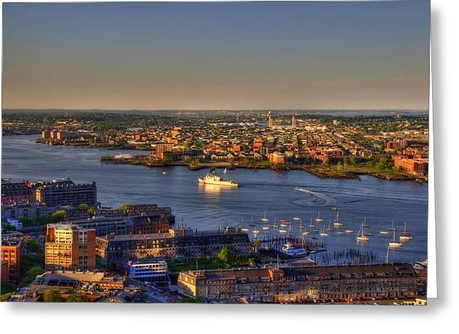 Us Coast Guard On Boston Harbor 2 Greeting Card by Joann Vitali