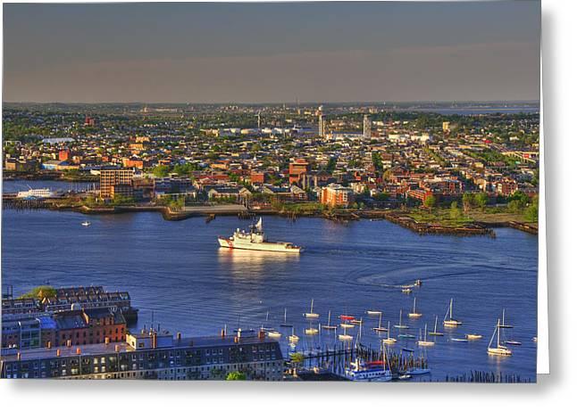 Us Coast Guard On Boston Harbor Greeting Card by Joann Vitali