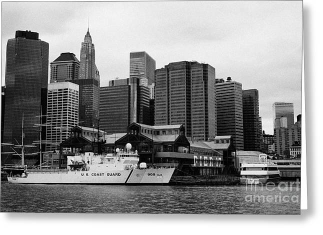 Us Coastguard Cutter Vessel Ship Berthed In Lower Manhattan New York City Greeting Card