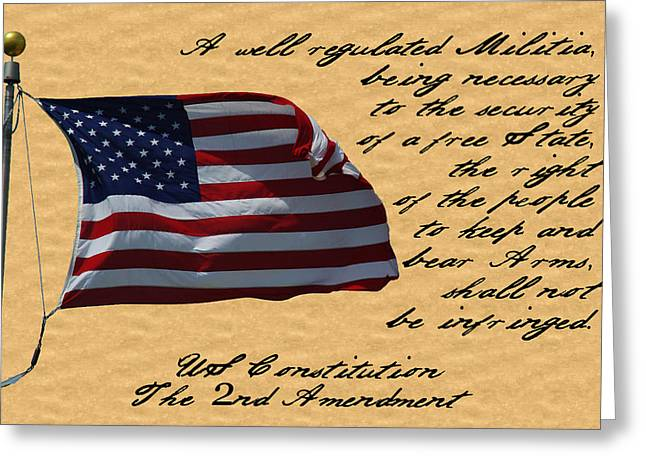 Us Constitution 2nd Amendment Flag Greeting Card by Robyn Stacey