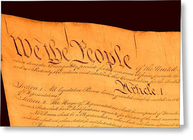 Us Constitution Closest Closeup Brown Background Greeting Card by L Brown