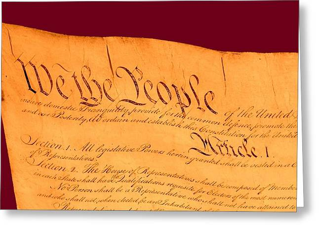 Us Constitution Closest Closeup Violet Red Background Greeting Card by L Brown