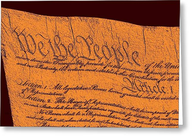 Us Constitution Closeup Sculpture Red Brown Background Greeting Card by L Brown