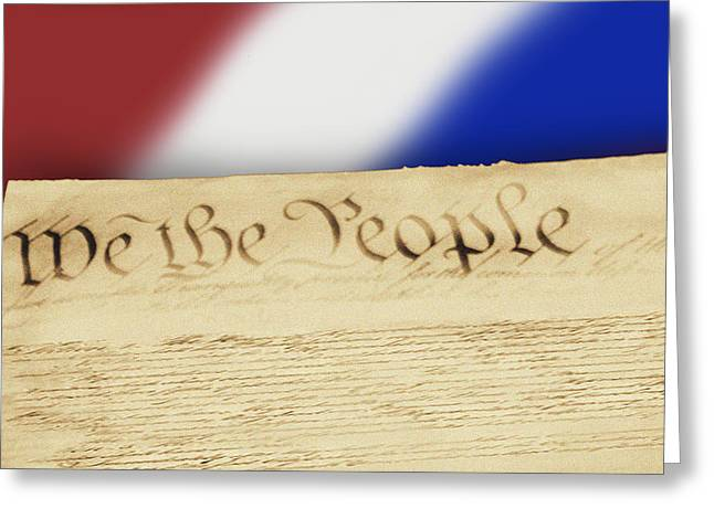 Us Constitution Greeting Card by Linda Phelps