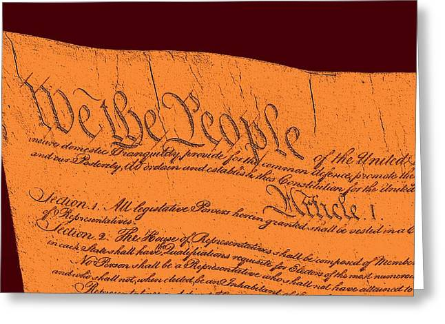 Us Constitution Sculpture Closest Closeup Red Brown Background Greeting Card by L Brown
