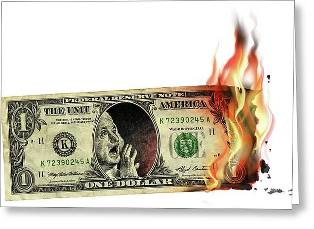 Us Dollar Crisis Greeting Card by Smetek