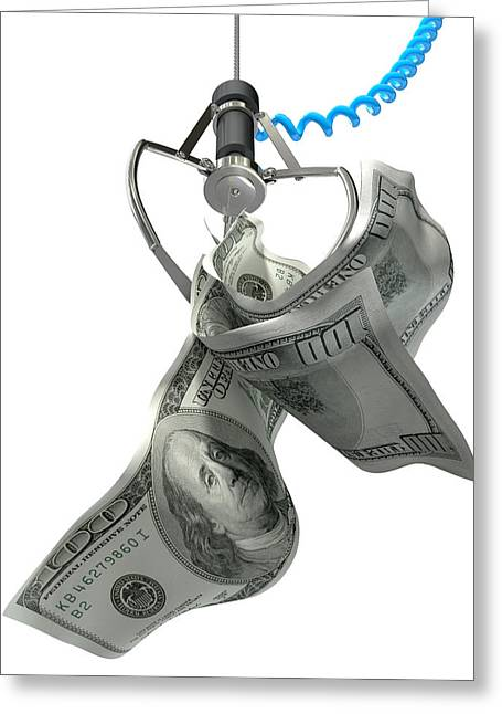 Us Dollars In A Robotic Claw Greeting Card by Allan Swart