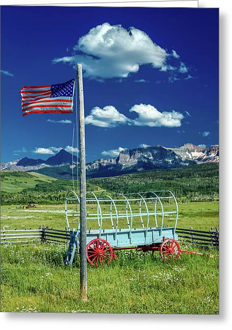 Us Flag And Covered Wagon, Hastings Greeting Card