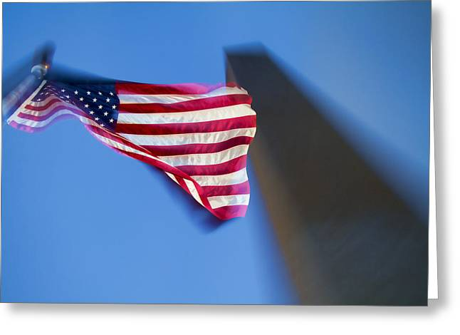 Us Flag At Washington Monument At Dusk Greeting Card by David Smith