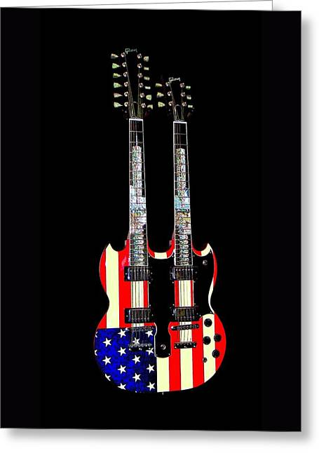 U S Flag Gibson Guitar Poster Greeting Card