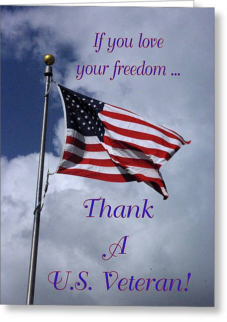 Us Flag Thank A Vet Greeting Card
