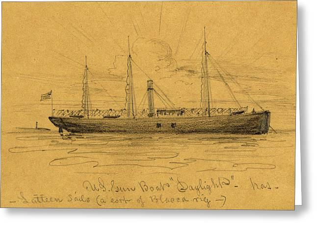 U.s. Gun Boat Daylight, Between 1860 And 1865 Greeting Card by Quint Lox