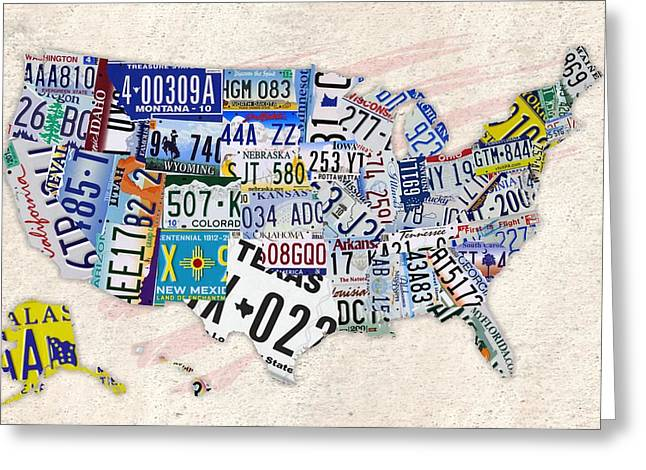 Helena Kay Greeting Cards - Us liscense plate map