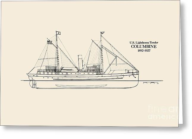 U S  Lighthouse Tender Columbine Greeting Card by Jerry McElroy - Public Domain Image