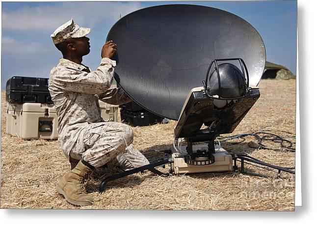 U.s. Marine Assembles A Support Wide Greeting Card by Stocktrek Images