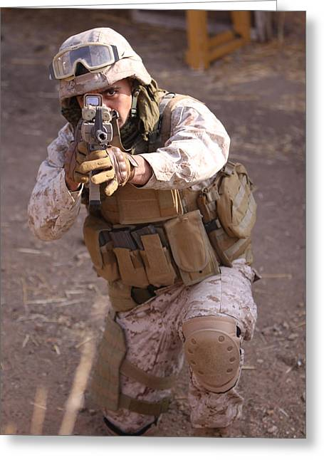 Us Marine At Work Greeting Card by Shoal Hollingsworth