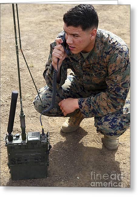 U.s. Marine Conducts Radio Checks Greeting Card by Stocktrek Images