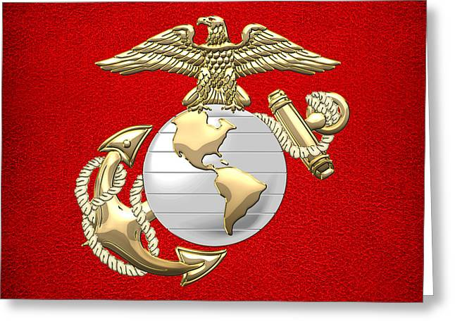 U. S. Marine Corps Eagle Globe And Anchor - E G A On Red Leather Greeting Card by Serge Averbukh