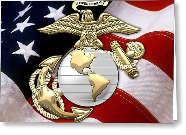 U. S. Marine Corps - U S M C Eagle Globe And Anchor Over American Flag. Greeting Card by Serge Averbukh