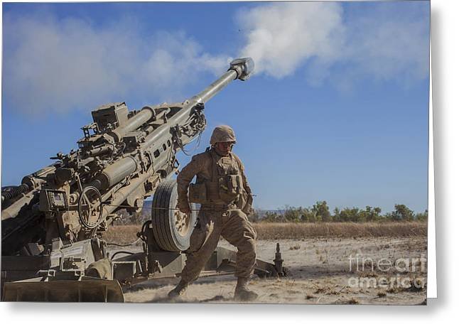 U.s. Marine Fires An M777a2 Howitzer Greeting Card by Stocktrek Images