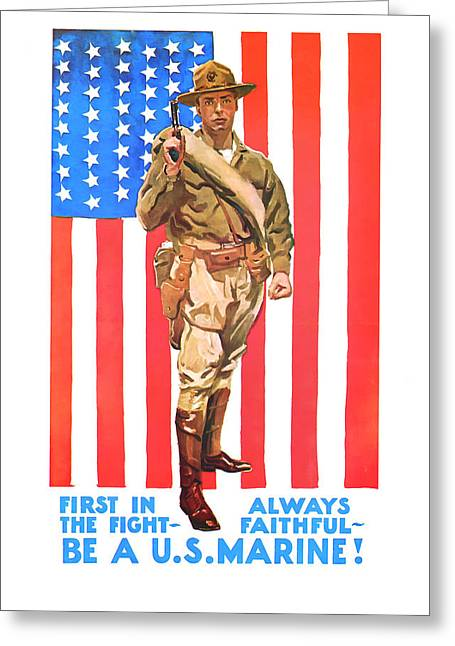 Greeting Card featuring the mixed media U.s. Marine by Presented By American Classic Art