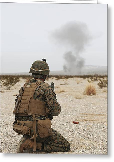 U.s. Marine Provides Security As Part Greeting Card by Stocktrek Images