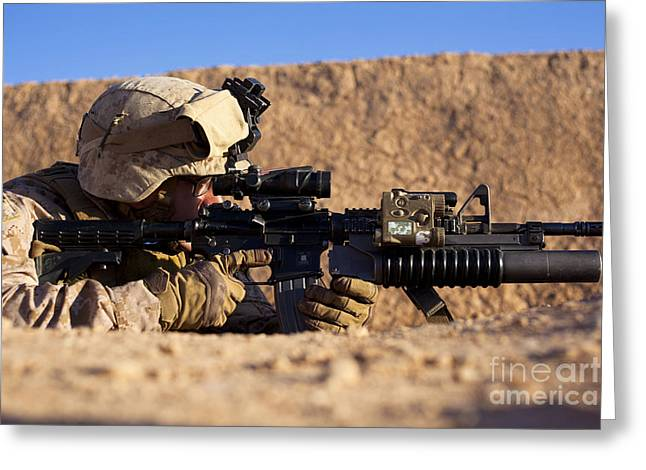 U.s. Marine Scans For Threats Greeting Card