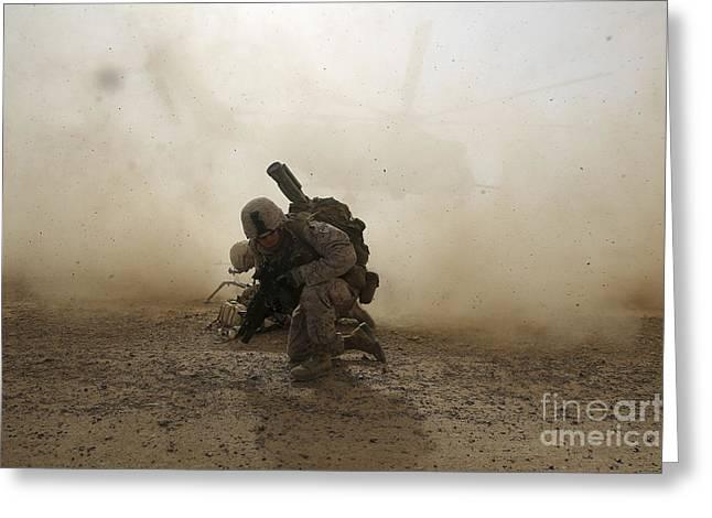 U.s. Marine Shields Himself From Dust Greeting Card