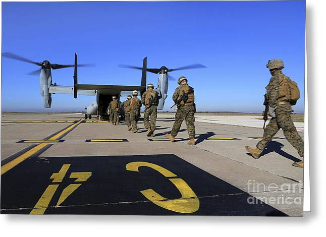 U.s. Marines And Sailors Board An Greeting Card by Stocktrek Images