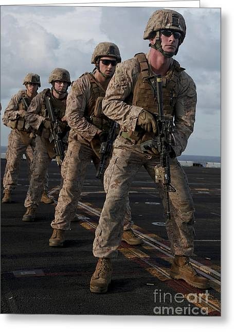 U.s. Marines Prepare To Fire At Targets Greeting Card by Stocktrek Images